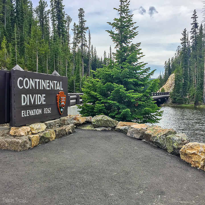 sign for the continental divide at Craig Pass in Yellowstone