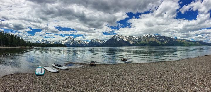 panoramic shot of jackson lake in grand teton