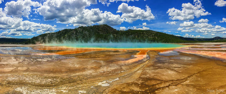 panoramic shot of grand prismatic in yellowstone