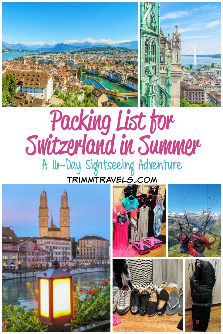 Switzerland in the summer. Hot? Cold? Both? What to take? Yikes!! Packing. It's the worst part of any trip in my opinion. Check out my packing list for Switzerland in summer. If you are heading there this time of year, this list will hopefully make for a less-stressful packing process! #packinglist #packingtips #packing #tips #switzerland #summer #travel