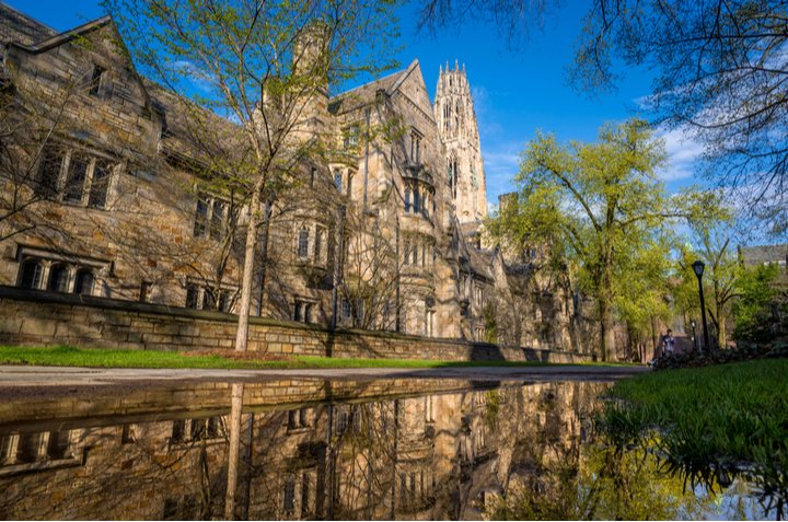 Historic buildings at Yale University in Connecticut with water reflection