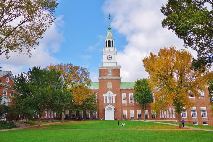 Baker Tower against a blue sky at Dartmouth College in New Hampshire
