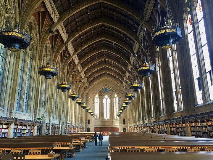 Inside the Suzzallo Library with gothic architecture at University of Washington Seattle