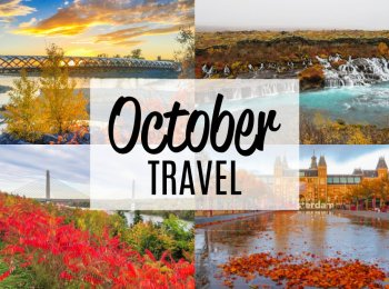 October Travel title on a collage of four fall foliage photos