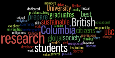 UBC vision and mission by Wordle