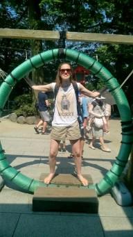 Katrina does Leo Da Vinci at Enoshima Shrine.