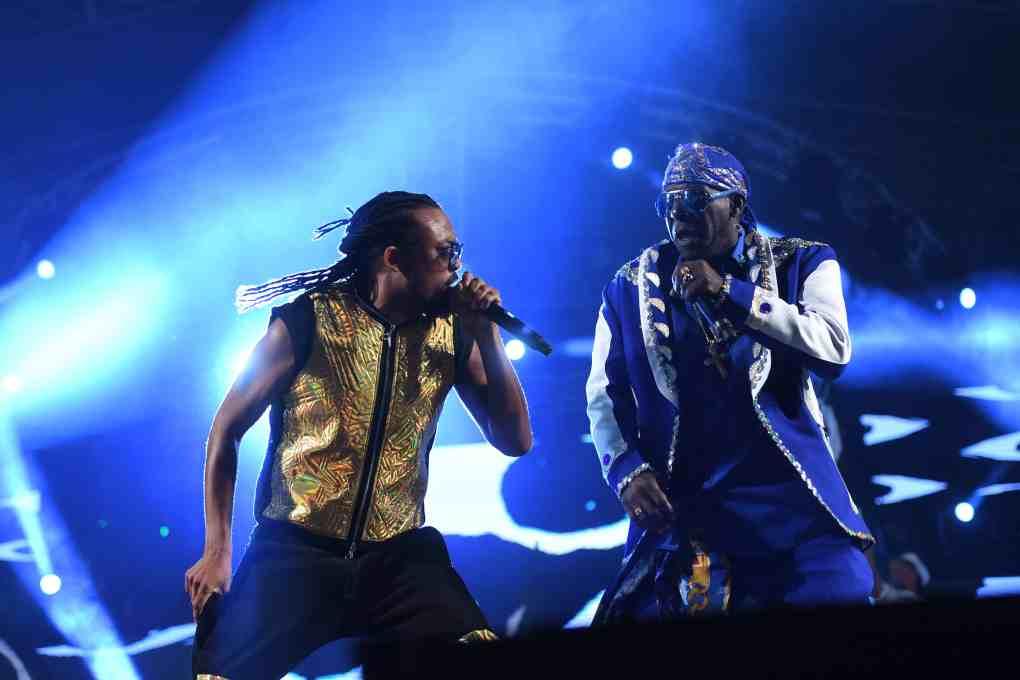 Machel Montano and Superblue perform at Machel Monday 2018. Photo: Jermaine Cruikshank