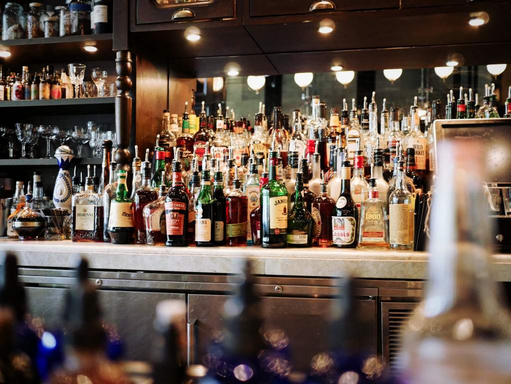 Bar with alcohol