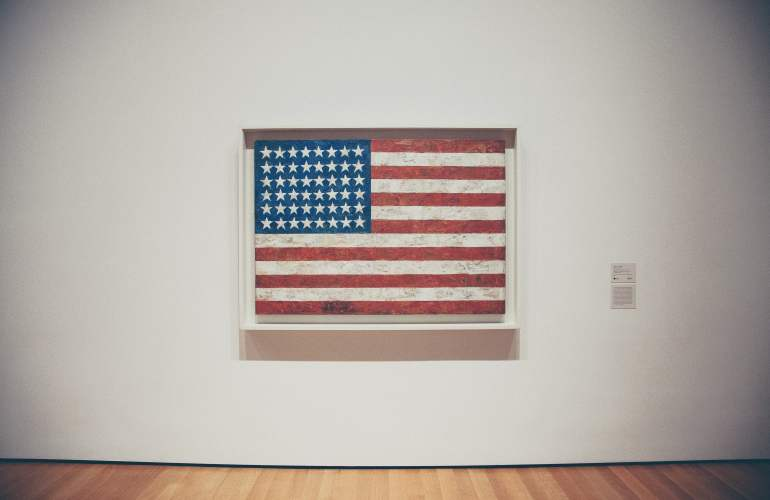 American flag on the wall in a gallery
