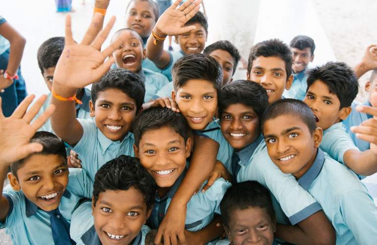 Indian Children Waving