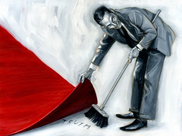 Rachifee: Man sweeping the word truth with a broom under a red rug