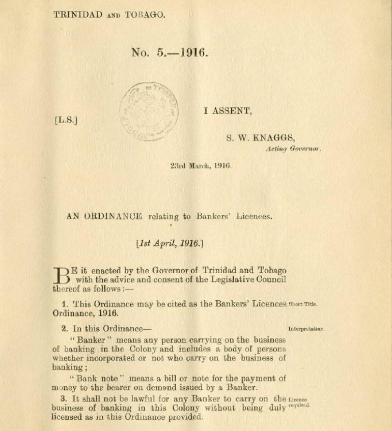 Whe-whey Trinidad Ordinance 5 - 1916