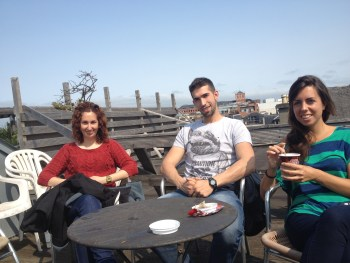 Students enjoy Spanish-style sunshine on our Rooftop Garden