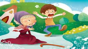 child and elderly person