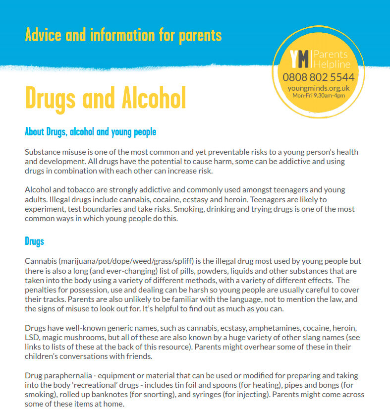 Young Minds Info Leaflet Drugs and Alcohol image link