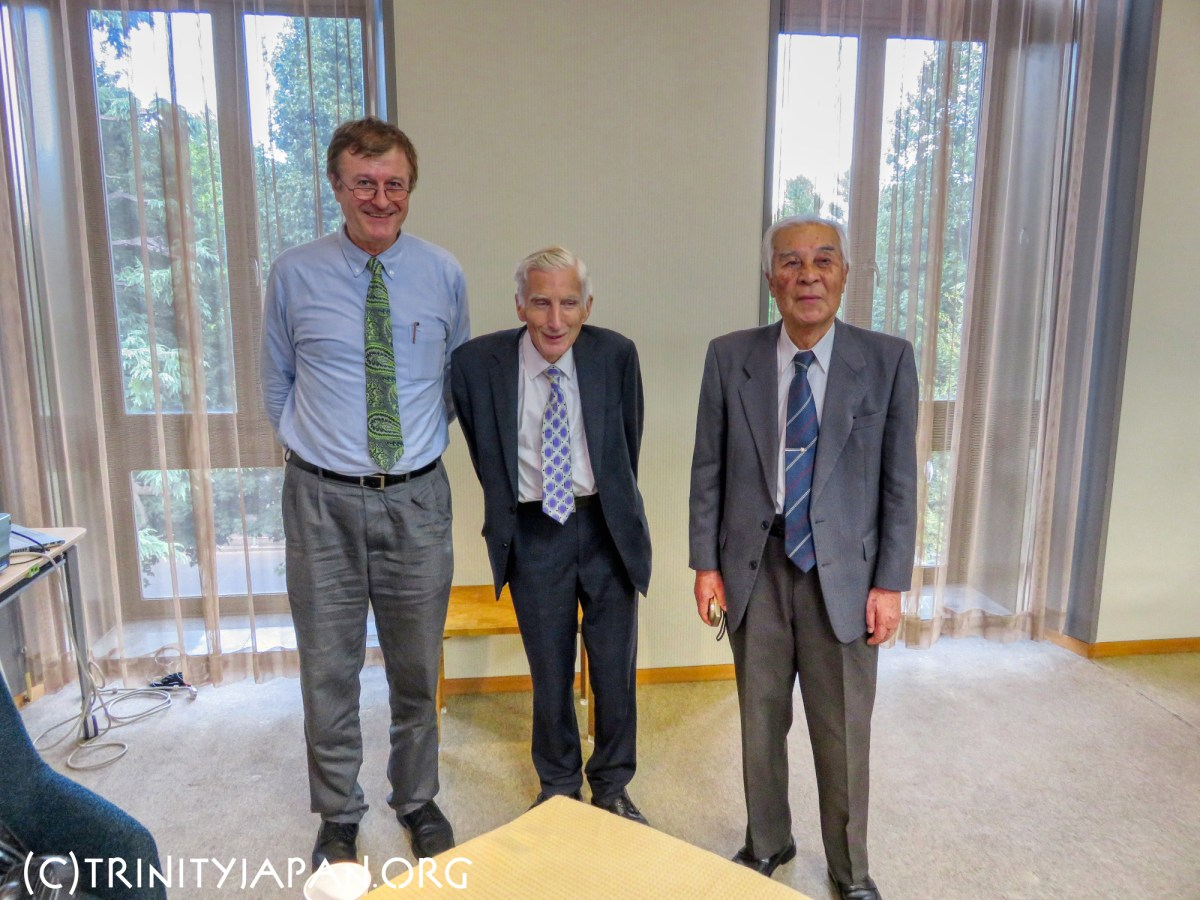 Ken Shibata (Trinity 1960), Lord Martin Rees and Gerhard Fasol (Right to left) at the Japan Academy of Science