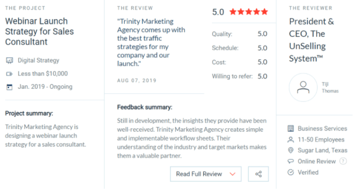 Clutch Recognizes Trinity Marketing Agency as a Top PPC Agency in South Carolina 2