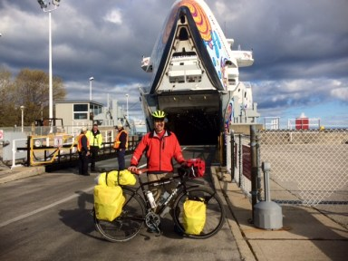 """The ferry is the Chi-Chemaun - A native American word, I believe – that runs from Tobermory to Manitoulin Island, where I am presently. The deckhand that took the photo said """"That's one long effing trip!"""" Which is a common response, when people ask where I'm from and where I am going."""