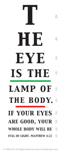 Matthew 6:22  The eye is the lamp of the body. | Trinity ...