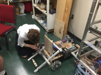 Member of Build using last year's robot for testing