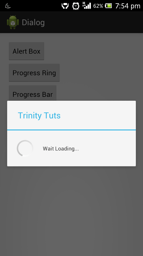 Android Alert and progress dialog - trinity tuts