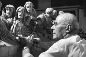 Johannes Lang of Oberammergau, Germany and his Last Supper carving