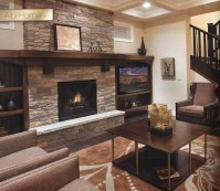 Natural Stone Fireplace with wood mantel | Trinity ...