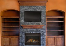Rustic Stone Fireplace with Mantel