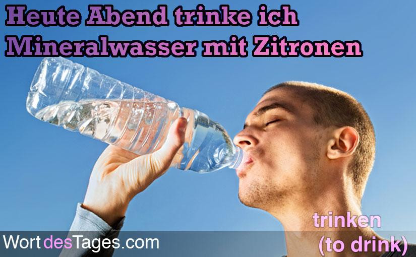 Heute Abend trinke ich Mineralwasser mit Zitronen