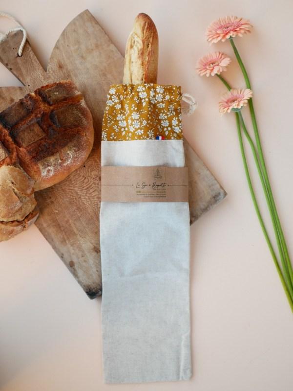 Sac à baguette - Capel Moutarde - Lin et coton Liberty Trinquette Artisanat