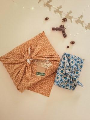 """Furoshiki """"Colombo"""" emballage écologique en tissu réutilisable"""
