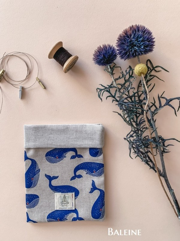 Pochettes à livre en coton bio - Coloris Baleine - Trinquette Artisanat