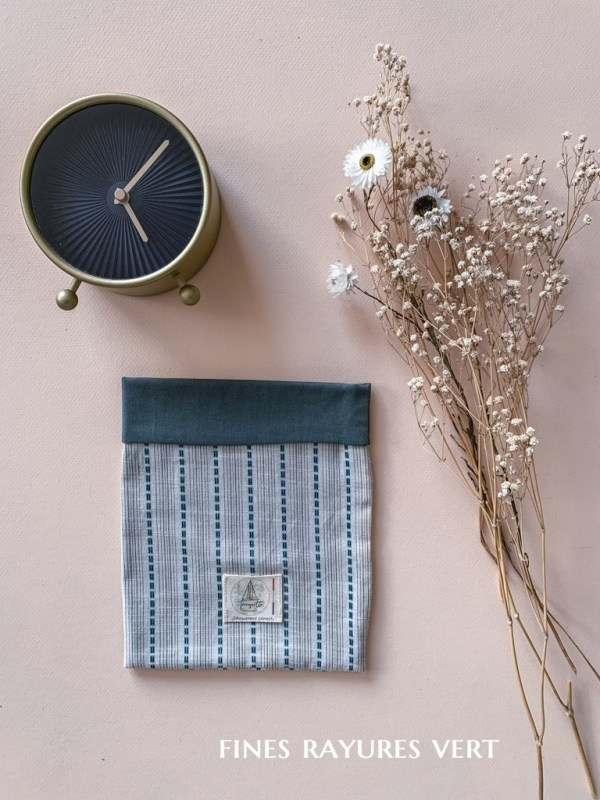 Pochettes à livre en coton bio - Coloris Fines Rayures Vert - Trinquette Artisanat