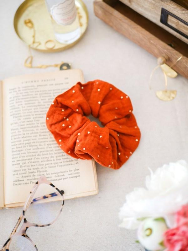 Chouchou cheveux été en double gaze de coton coloris Terracotta - Trinquette Artisanat