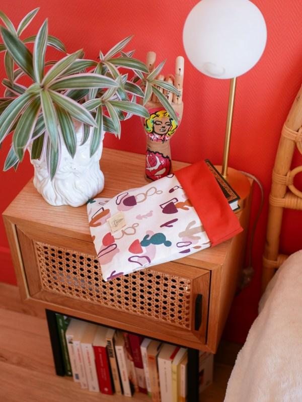 Pochette à livre en tissu grand format - Trinquette Artisanat