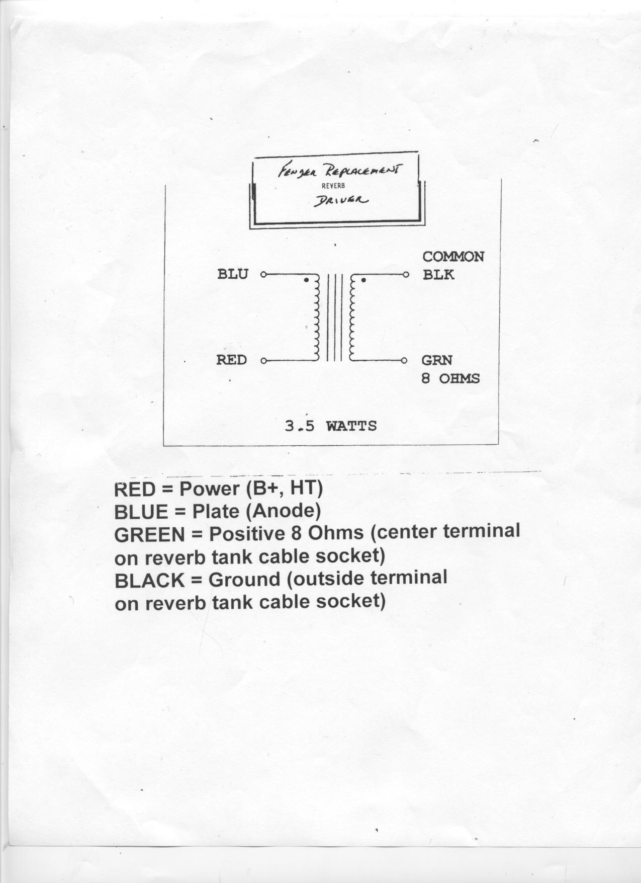 Fender Reverb Driver Transformer Made In Usa