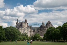 Fairmont Château Laurier, Ottawa, a grand hotel over looking Rideau Canal. This is the view from the park at the other side of the hotel...