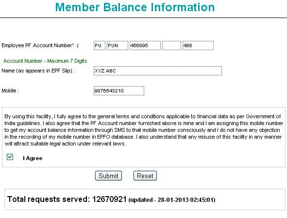 provident fund - member balance information