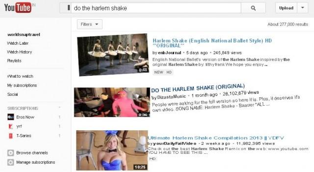 do the harlem shake in youtube