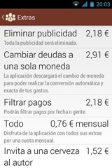 Comprar extras, Settle Up, Android, Samsung