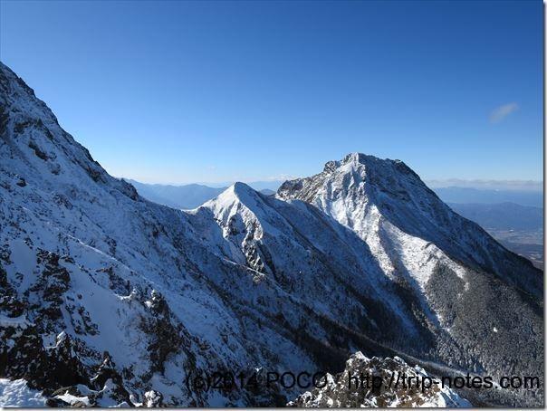赤岳から阿弥陀の稜線