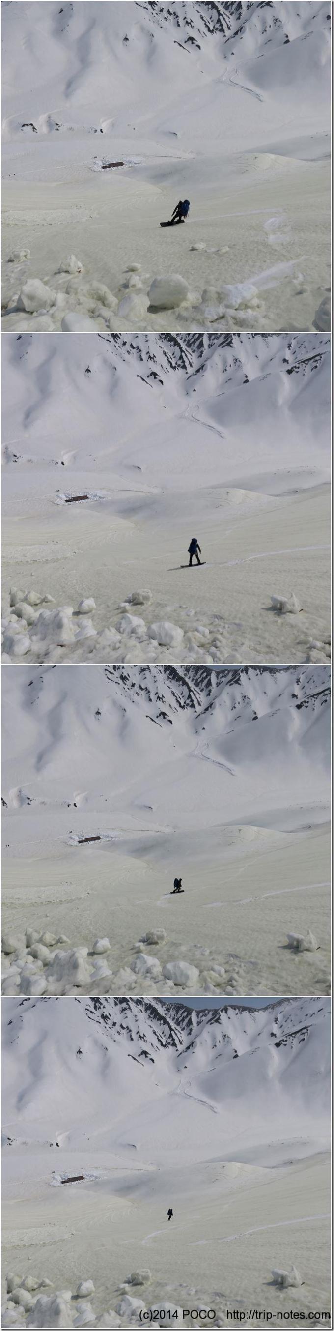 立山スノボー下山