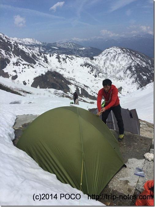 白馬鑓温泉テント設営2