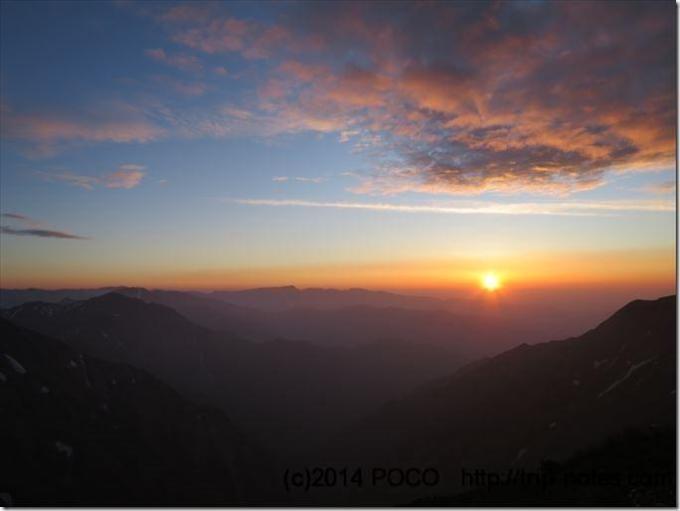 谷川岳の夕日