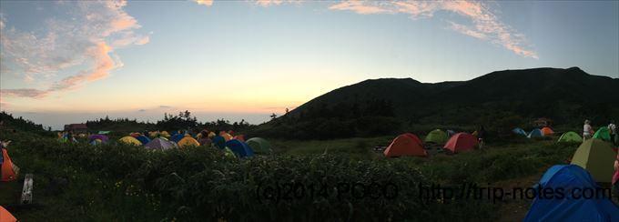 南竜ヶ馬場野営場の夕暮れ