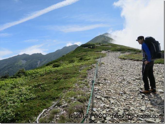 爺ケ岳の稜線