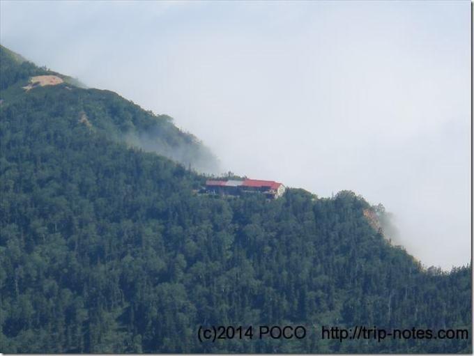 鹿島槍ヶ岳までの稜線上の冷池山荘
