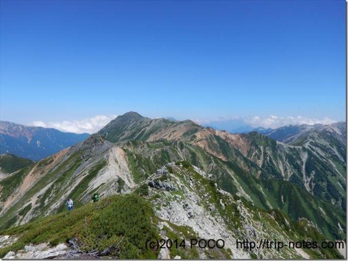 鷲羽岳から水晶岳の稜線