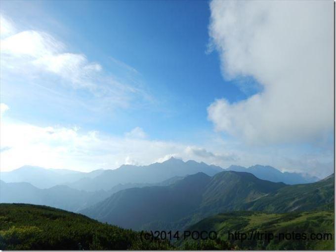 巻き道コースから見える槍ヶ岳