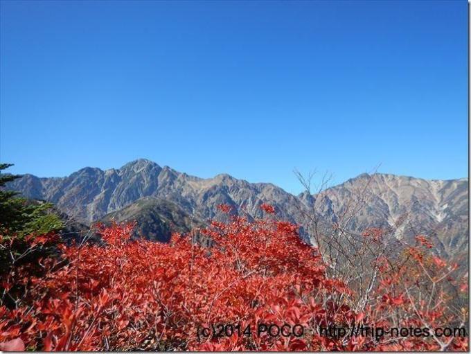 紅葉と後立山連峰